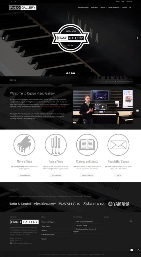 Ogden Piano Gallery website design layout