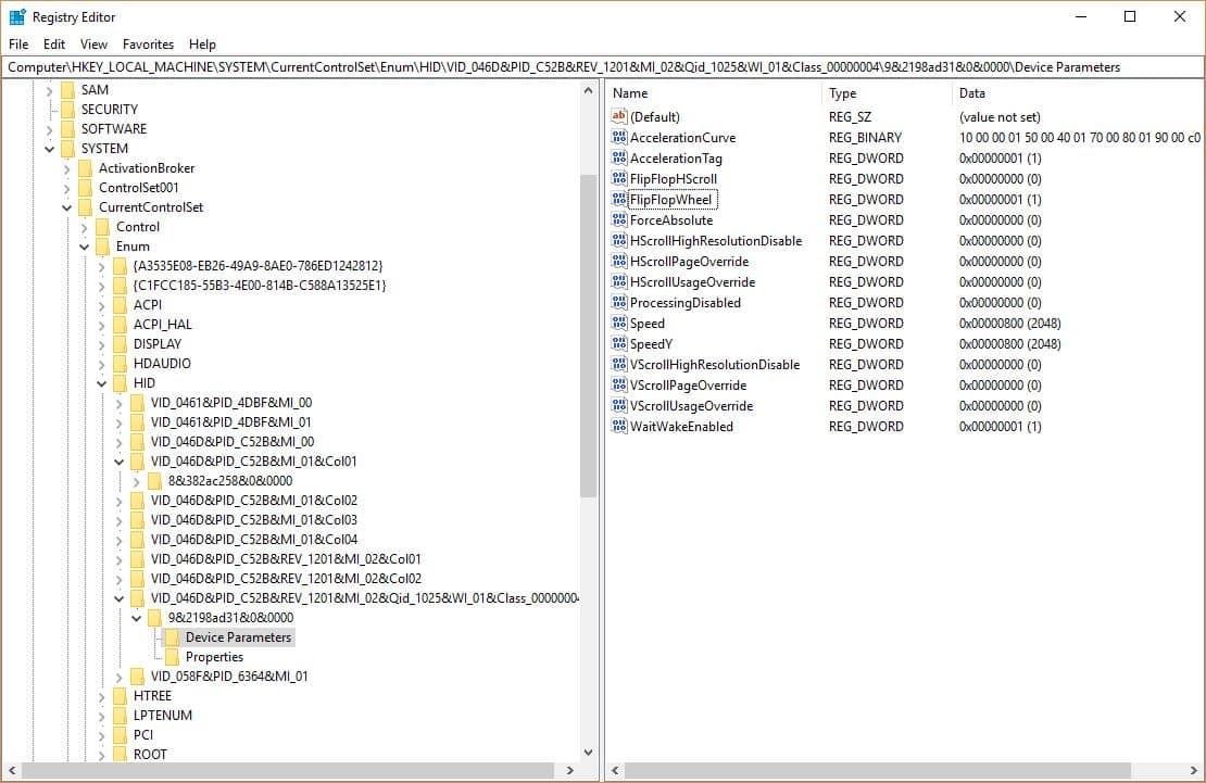 Reverse Scrolling on Windows 10 Registry Key