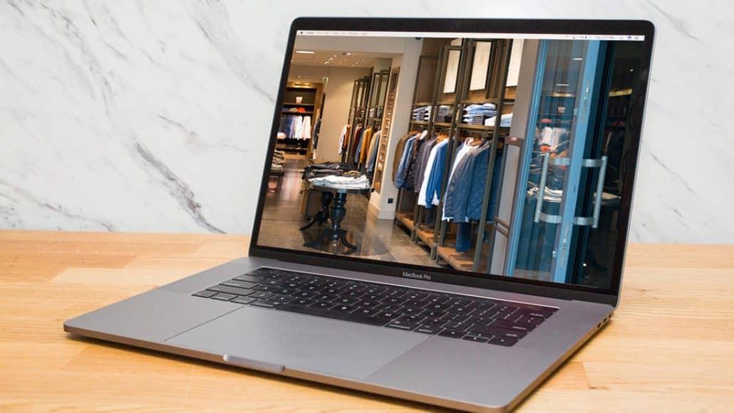 Clothing Website Design Displayed on Macbook Pro